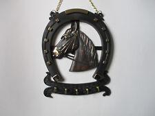 Schlüsselbrett Hufeisen mit Pferdekopf, 5 Haken, Kunststoff, 25x20 cm, neu !!!
