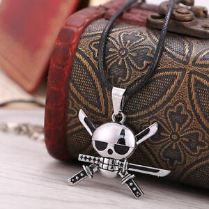 One Piece Rudder Zoro Skull Choker Necklace Pendant Anime Cosplay Unisex Gift