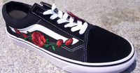 New Vans Old Skool Red Rose-embroidered Skate Shoes/Sneakers/Trainers/Zapatillas