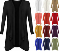 Ladies Hanky Hem Women Jersey Plus Size Long Sleeve Top Waterfall Open Cardigan