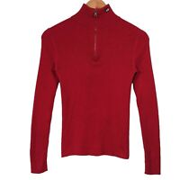 POLO JEANS CO Red 1/4 Zip Ribbed Knit Jumper - Womens Medium