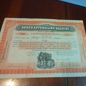 Agnew Automailing Machine Company Stock Certificate Maine 1906 antique