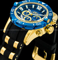 Invicta 50mm Men's Pro Diver Chronograph Blue Dial 18K Gold Plated SS PU Watch !