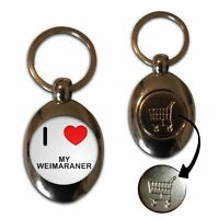 I Love My Weimaraner - £1/€1 Shopping Trolley Coin Key Ring New