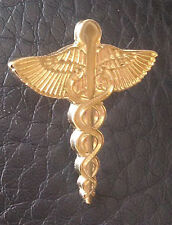 "RX Caduceus Snake Medical Symbol Gold Plated 1"" Lapel Pin"