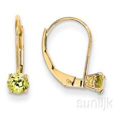 Pendientes de joyería verde de oro amarillo de 14 quilates