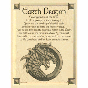 """Earth Dragon Poster 8.5 x 11"""" Parchment Print NEW Book of Shadows Prayer"""