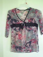 KNIT WERKS Girls Size XL  16  Sheer Multi Color floral  3/4 Sleeve Tunic Top