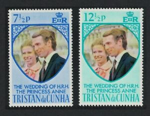 Tristan da Cunha Royal Wedding Princess Anne 2v 1973 MNH SG#186-187