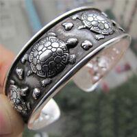 Fashion Tibet Silver Plated Carved Longevity Turtle Pattern Bracelet Party G KA