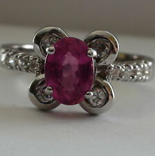 NATURAL RUBY RING 1.70 CT OVAL CUT 925 S,SILVER,Fine Estate Jewelry,SIZE 7.0