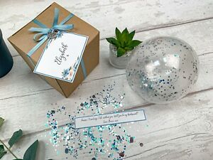 Will you be my bridesmaid Balloon in a box pop the question proposal gift blue