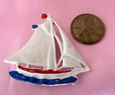 """Vintage Sail Boat Pin - Circa 1950's   1-1/2"""" Tall     Red - White & Blue"""
