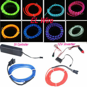 LED EL Wire Neon Glow Rope Tube Strip Decor Light Car String Lamp + Controller