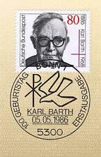 BRD 1986: Karl Barth Nr. 1282 mit sauberem Bonner Ersttagssonderstempel! 1A! 156