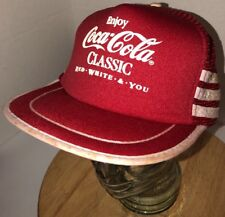 VTG COCA COLA 80s Red White You 3 SIDE STRIPES BARS Trucker Hat Cap Snap COKE