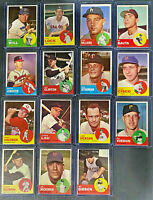 1963 Topps Baseball Card Vintage Lot of 15 Cards