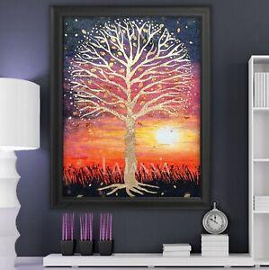 Gold Tree of Life Rich Reds/Pinks Orange Sunset Inspiring Art print by LaTanya