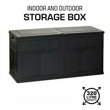 Outdoor Garden Storage Box Chest Cushion Equipment Lid Shed Plastic 320L Black