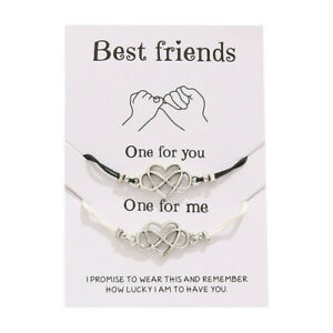 Best Friend Love Heart Friendship Promise Charm Card Wish You Me Bracelet Gift