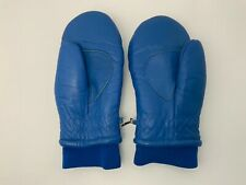 Vintage Ski Mittens Blue Leather Womens Large