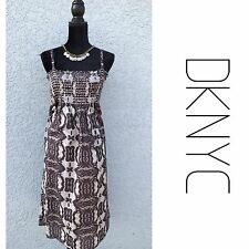 DKNY Earthy Boho Sleeveless Cotton Dress Small Brown Women's S
