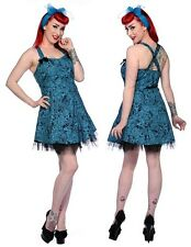 S Blue Black Filigree Skulls Roses Mini Dress Banned UK 10 Gothic Prom Victorian
