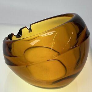 """Vintage Viking Glass Orb Mid Century Amber Slant Round 3 Slot Ashtray LARGE 5"""""""