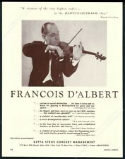 1959 Francois d'Albert photo violin recital tour booking trade print ad