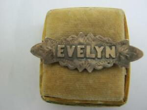 vintage silver name brooch EVELYN