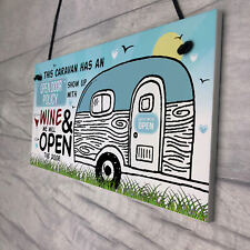 Open Door Policy Caravan Hanging Plaque Novelty Chic Camping Holiday Sign Gifts