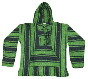 LARGE Mexican BAJA HOODIE - Lime Green/Black - Mexican PONCHO Sweater Surfer
