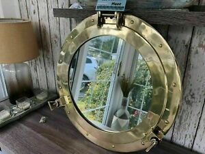 Antique Brass Porthole 15 inches Gold Finish Port Mirror Wall Hanging Ship Decor