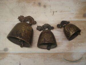 3 Petites Cloches Clochettes Bronze  de Méditation Asie