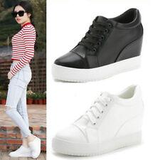 Womens Hidden Wedge Athletic Shoes Round Toe Wedge High Heel Tops Sneakers Solid