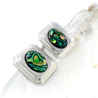 Abalone Clip On Earrings Vintage Silver Tone Costume Jewellery