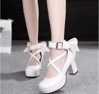 Sweet Lolita Womens Bowtie Mid Heels  Pumps Girls Cross Strap Mary Jane Shoes