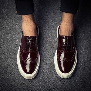 Mens Platform Wing Tip Carved Brogue Lace Up Patent Leather Retro Loafers Shoes