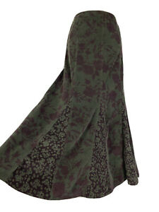 M&S Brown Green Floral Long Panelled Cord Maxi Skirt Size 12