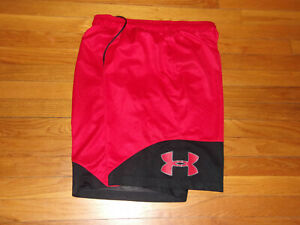 UNDER ARMOUR RED/BLACK ATHLETIC BASKETBALL SHORTS MENS XL EXCELLENT CONDITION