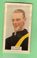 1930 VICTORIAN FOOTBALLERS CARD - HOADLEYS CHOCOLATE #1  J. TITUS, RICHMOND