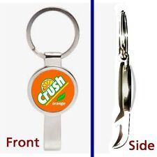 Orange Crush Soda Pop Pendant or Keychain silver tone secret bottle opener