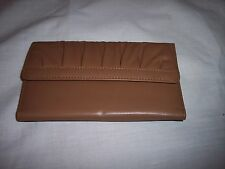 "Rolfs Checkbook Wallet, 7"" x 4"" Ruffled Front,Tri-fold, Tan, Coin Pocket on Back"