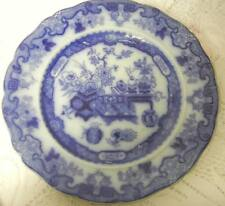 Antique Ridgway Pottery Flow Blue Chinese Famille Rose Verte Formosa Penang 1840