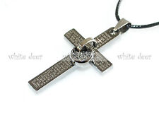 Stainless Steel Cross Pendant Necklace Jewelry Gray Spanish Bible Double Ring