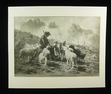 "Perry Pictures Vintage 1930s Art Print 10"" x 12"" Bonheur - Shepard and his Flock"