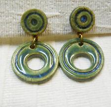Handmade Ceramic Drop Earrings, Blue Green Glazed Dangle Earrings 440- 1c