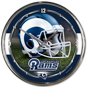NFL - Los Angeles Rams - New Chrome Round Wall Clock  12 Inches Diameter, New