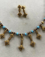 Vintage Etruscan Roman Faux Turquoise Gold Tone Necklace And Earring Set