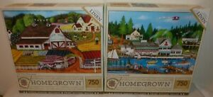 Lot of 2 MasterPieces Homegrown 750pc Puzzles - Roche Harbor & Fresh Flowers-New